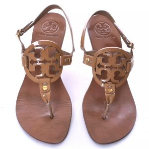 """Tory Burch 'Holly' Miller patent sandals, """"sand"""" 7"""